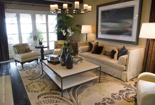 Living room with contemporary furniture and decor.