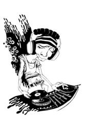 DJ, vector illustration