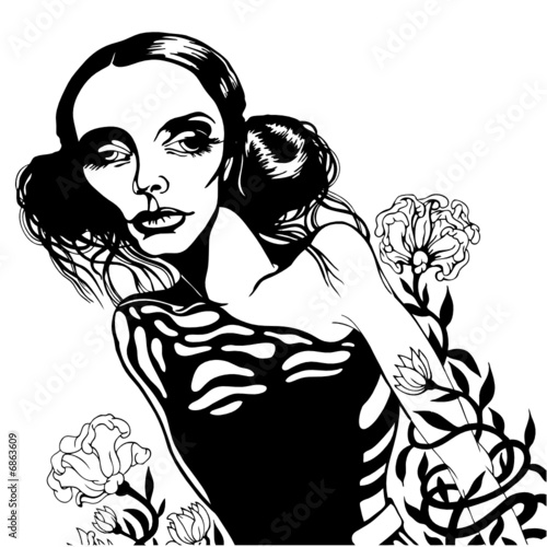Romantic girl with flowers, vector illustration. - 6863609