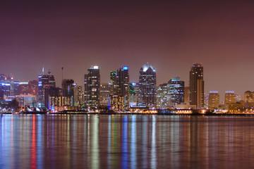 reflection of San Diego skyline