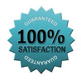 100% satisfaction guaranteed seal blue poster