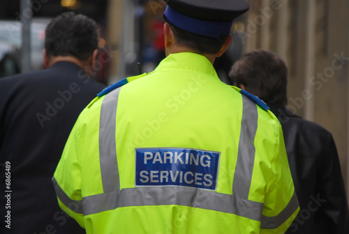 Patrolling traffic warden