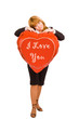 "a girl with ""i love you"" sign balloon"