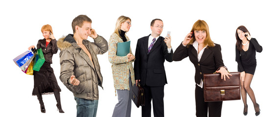 group of people involved in phone talking