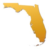 Fototapety Florida (USA) map filled with orange gradient