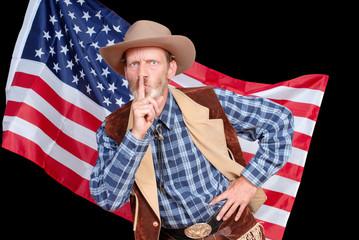 Hushing senior cowboy with American flag