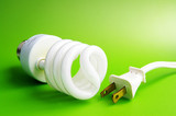 Compact fluorescent light bulb and plug, on green