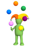 3d clown - puppet, juggling with color balls poster