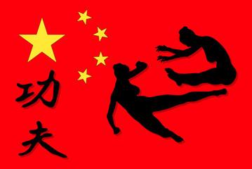 Kampfsport Scene mit der Flagge von China- Vector