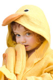 blue-eyed girl with slippers in a yellow towel poster