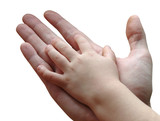 child and parent hands together poster