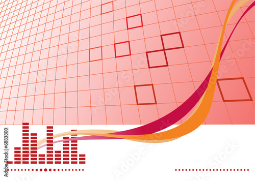 Red music background with equalizer. Vector illustration