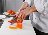 Chef preparing pepper poster