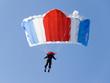 Parachutist pulling brakes