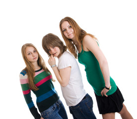 Three attractive girls isolated on a white