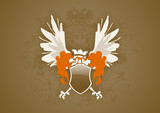 Shield with wings on brown gradient background. Vector poster