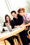 successful business team is working with a laptop