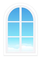 Fenêtre fermée sur un ciel bleu (détouré)