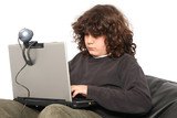 boy using laptop and webcam on white background poster