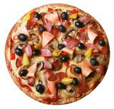 Pizza, schinken, oliven, paprika, champignons