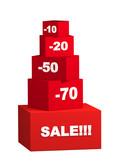 Sale - boxes with the goods for reduced prices poster