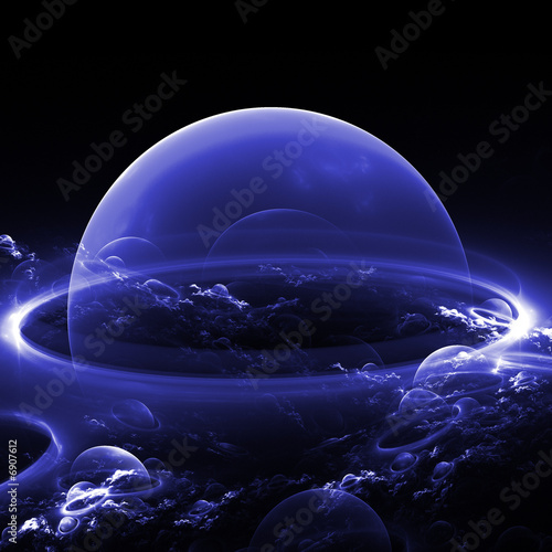 abstract blue planet/bubble with abstract clouds