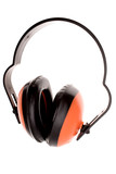 Ear protectors over white poster