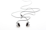 earphones isolated on white background poster
