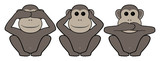 Three monkeys of east philosophies poster