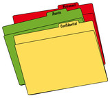 colored file folders with confidential, personnel and assets  poster
