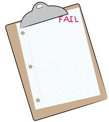 clipboard with lined paper marked fail - failing assignment