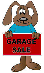 dog cartoon holding up sign for a garage sale