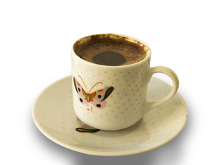 Foamy Turkish Coffee Cup With Butterfly Pattern including path
