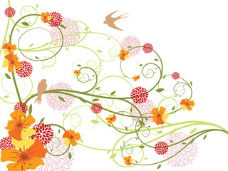 spring yellow floral swirls and swallows (vector)