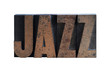 the word 'jazz' in old, ink-stained wood type