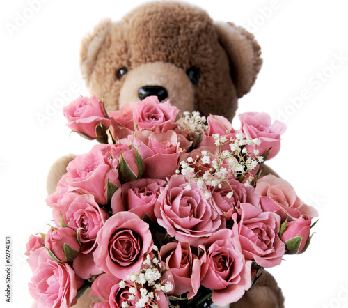 teddy bear with pink roses