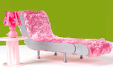 Pink Fuzzy Chaise Lounge and Lamp poster