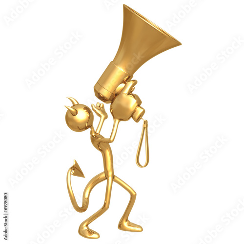 Devil Shouting To Heavens On Giant Golden Megaphone