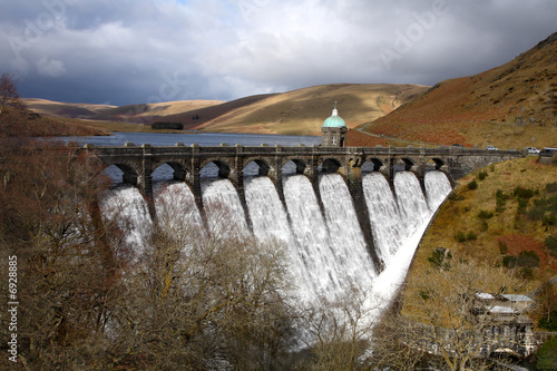 Plexiglas Dam Craig Goch reservoir, Elan Valley, Wales.