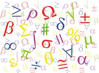 Maths Symbols Collage Colour