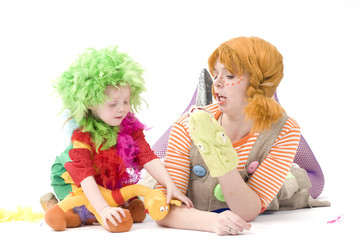 Big and little clown are playing IV
