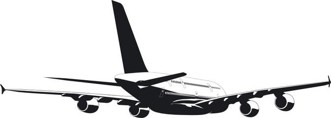 Vector silhouette of passenger jetliner a380
