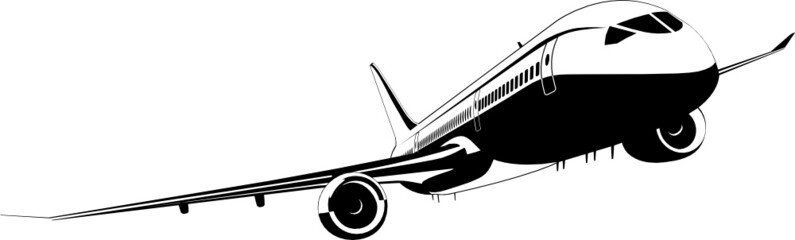 Detailed vector silhouette aeroplane