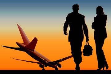 Vector aeroplane at runway