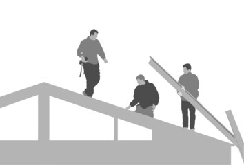 three men building house