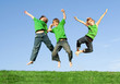 happy smiling healthy group of kids jumping