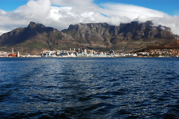 Cape Town and Table Mountain seen from the sea