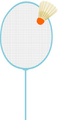 Vector  - fragment badminton racket with Badminton shuttle