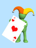 3d joker - puppet, holding in a hand of a red ace poster