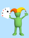 3d joker - puppet, holding in a hand four aces poster